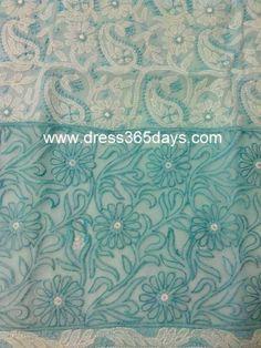 Blue Cotton Unstitched Kurta Fabric with Chikankari and Net Applique Daaman