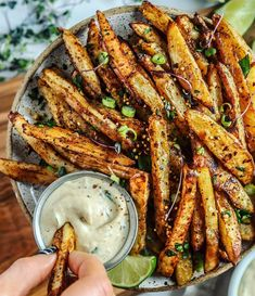 """I'm dancing in the streets today with these MEXICAN STREET FRIES, and this cool vegan TAHINI """"RANCH"""" dip is perfect for this heat wave 🙃 Happy FRYday! I swear my last Mexican post this... Ranch Dip, Tahini, Cookbook Recipes, Vegan Recipes, Sweet Potato Seasoning, Courge Spaghetti, Roasted Beets, Nutrition, Vegan Life"""