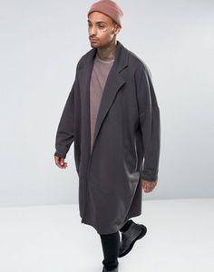 ASOS - Spolverino oversize lungo in jersey nero slavato