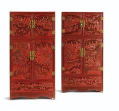 Paire de cabinets en laque rouge sculpté Chine, dynastie Qing, XVIII E- XIX E siècle - Sotheby's