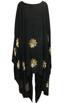 Black sequins stars cape with dhoti pants available only at Pernia's Pop Up Shop.