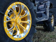 """Yellow Positive Venoms with Bullet Edge and """"Gorilla Axle"""" engraved on edge with head in center Ranger, Bullet, Wheels, Yellow, Car, Style, Swag, Automobile, Stylus"""