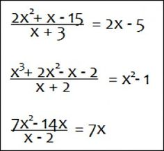 Examples of division of polynomials