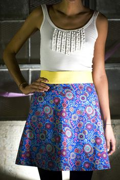 Free A-line mini-skirt pattern and tutorial. I like how (and where) this skirt falls, and it sounds easy-peasy.
