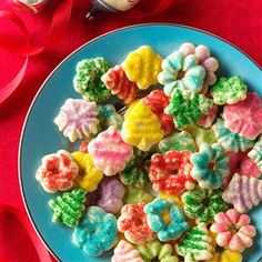 Buttery Spritz Cookies Recipe- Recipes  These tender little cookies are very eye-catching on my Christmas cookie tray. The dough is easy to work with, so it's fun to make these into a variety of festive shapes.                       —Beverly Launius, Sandwich, Illinois