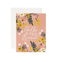Thank You Bridesmaid Available as a Single Folded Card