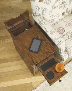 Check this cool end table out!  cool hidden features like power outlets, USB charging & #SurpriseCupHolders