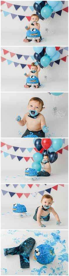 Manassas Child Photographer | Cookie Monster Cake Smash! » LCE Photography