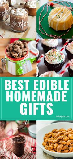 Check out this list of the Best Homemade Edible Gifts for the holidays. This is full of easy sweet and savory ideas you can DIY this Christmas! via @thelifejolie