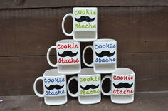 Dad's Cookie Stache - Ceramic Cookies and Milk Dunk Mug - Red Text. $25.00, via Etsy.