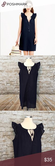 NWT J Crew Navy Flutter Beach Tunic Retail $68  100% cotton  Machine wash    Measurements in inches when laid flat:  Bust: 22 Waist: 23 Hips: 23 Length: 34 Length from under arm to hem: 26 J. Crew Swim Coverups