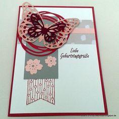 #Geburtstagskarte mit filigranen Schmetterlingen in Rosétönen  http://eris-kreativwerkstatt.blogspot.de/2017/02/geburtstagskarte-mit-filigranen.html  #stampinup #teamstampingart #karte #geburtstag #schmetterling