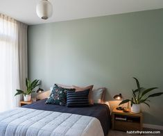 Oliver and Ella's six-month journey to their enviable dream home Olive Green Bedrooms, Olive Bedroom, Sage Green Bedroom, Feature Wall Bedroom, Bedroom Wall, Master Bedroom, Bedroom Decor, Bedroom Inspo, Bedroom Ideas