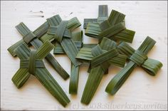 Crosses made from palms--I do this every year on Palm Sunday!! Kids behind me always want me to make one for them!!  :)
