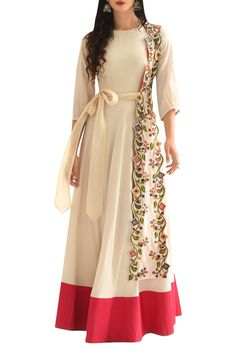 Buy Threadwork embroidered anarkali kurta by Rishi and Soujit at Aza Fashions