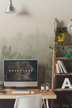 Create a laid-back feel for your home with this dreamy forest wallpaper mural. It's the perfect backdrop to your home office or living room space. Ideal if you're after a Scandi vibe in your home.