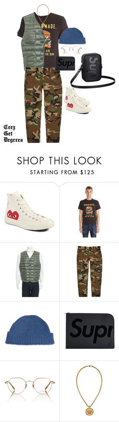 """""""URBAN HUNTER"""" by supremestyles ❤ liked on Polyvore featuring Comme des Garçons, Human Made, RRL, Ovadia & Sons, Brunello Cucinelli, Louis Vuitton, Oliver Peoples, Versace, men's fashion and menswear"""