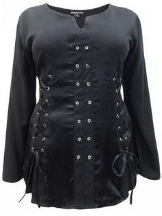 f1d504701b5ab eaonplus BLACK - BLACK Pirate Queen Gothic Grommet Blouse - PLUS SIZE 18 to  32