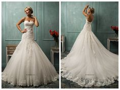 Tulle with appliqué, Mermaid style, sweetheart neckline and chapel length train