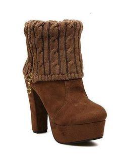 Pretty Chunky Heel Suede Euramerican New Arrival Woolen Yarn Boots