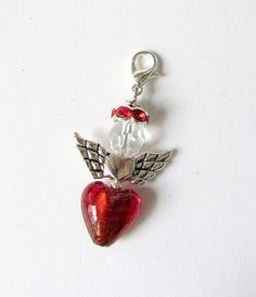 Herz-Engel-Anhänger  mit Herz rot-klar-silber von soschoen auf DaWanda.com