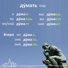 ENG think  DEU denken  FRA penser  SPA pensar  ITA pensare  |  Russian Grammar Lesson: Russian Verbs