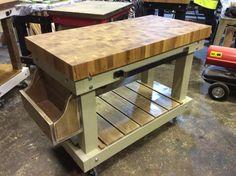 Solid 8cm oak end grain top butchers block with full shelf and bottle rack  see https://www.etsy.com/your/shops/me/dashboard?ref=seller-platform-mcnav