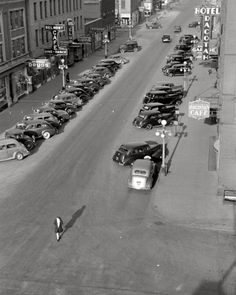 """October 1940. """"Grand Forks, North Dakota."""" 35mm nitrate negative by John Vachon for the Farm Security Administration."""