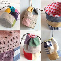 Drawstring bags - pinning for inspiration. The link goes to some kind of aggregator site and I can't find a link to the original post for these bags. Fabric Bags, Fabric Scraps, Scrap Fabric, Sewing Crafts, Sewing Projects, Diy Purse, Craft Bags, Patchwork Bags, Fabric Samples