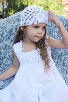FREE SHIPPINg /Flower girls dress white summer linen birthday baby infant crochet top special occasion wedding $73