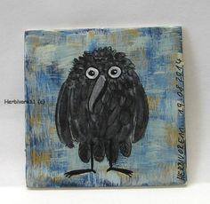 EIN KLEINER RABE von Herbivore11 kleine Kunst Inchie Minibild Raben Bild Crow