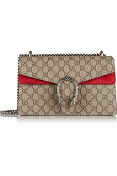 Gucci | Dionysus small coated canvas and suede shoulder bag | NET-A-PORTER.COM