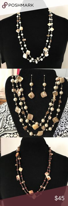 2x Long Mother of Peal Necklaces w/Earrings NWOT Gorgeous 2 long Statement Mother Of Pearl Necklaces and Earrings to match. Can be wear single or double. Jewelry Necklaces