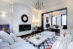 white living room #chandelier