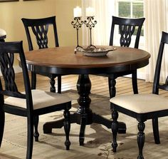 Hillsdale Furniture - Embassy Round Pedestal Table in Rubbed Black w Cherry Finish Top