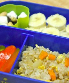 Toddler Approved Fried Rice. by IslandMama10. Plus, 1/2 bell pepper cut into strips 1 banana Homemade trail mix (GF marshmallows, raisins, peanuts)