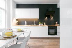 Compact Living: One Bedroom Apartment in Sweden One Bedroom Apartment, Apartment Kitchen, Diy Interior, Interior Design Kitchen, Black Kitchens, Home Kitchens, Kitchen Black, New Kitchen, Kitchen Dining