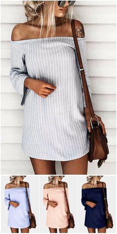 Sexy Off Shoulder Lace Up Stripe Patern Mini dress US$11.95