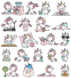 Premium Vector Clipart Kawaii Unicorn by LookLookPrettyPaper