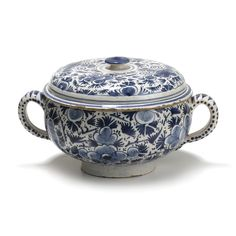 A DUTCH DELFT TUREEN AND COVER, 18TH CENTURY  the interior bowl with partly pierced mouth piece