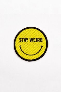 Glamour Kills Mini Happy & Weird Patch - Keep Austin Weird Cute Patches, Pin And Patches, Iron On Patches, Merit Badge, Embroidery Patches, Embroidered Patch, Cool Pins, Mellow Yellow, Badges