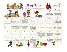 Fun healthy colorful May calendar that promotes fitness and healthy habits to children.  No holiday themes.
