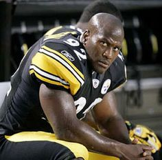 "James Harrison, NFL player, father, pit bull owner. His pit Patron attacked his 2yo son James III, then attacked the child's mother and an employee who tried to stop it. The toddler was hospitalized for a week. Harrison rehomed the pit with Mary Kay Kain, an amateur pit rehabber who flipped it on Petfinder within a month, calling it a ""Bandogge"" and making no mention of its 3 victims. (May 2009, Pittsburgh PA)"