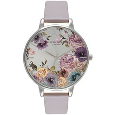 Olivia Burton Parlour Watch - Grey, Lilac & Silver (5,085 PHP) ❤ liked on Polyvore featuring jewelry, watches, oversized watches, oversized jewelry, vintage style watches, olivia burton watches and dial watches