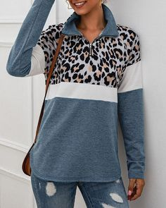 Leopard Colorblock Zipped Design Casual Sweatshirt Women's Online Shopping Offering Huge Discounts on Dresses, Lingerie , Jumpsuits , Swimwear, Tops and More. Sweat Shirt, Estilo Fashion, Online Shopping For Women, Latest Fashion Clothes, Pattern Fashion, Sleeve Styles, Sport, Jeans Shoes, Club Dresses