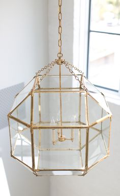 Circa Lighting Suzanne Kasler Morris Lantern in Gilded Iron Interior Lighting, Home Lighting, Modern Family, Home And Family, Gold Lanterns, Circa Lighting, Pendant Chandelier, Wood Beams, Luxury Interior Design