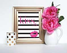 Kiss Me - Instant Download Digital Art Print - Valentines, Nursery, Office Decor - Pink and Black