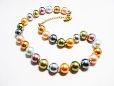 New Listings Daily - Follow Us for UpDates -  KJL Pearlescent Bead Necklace - Pastel Colors - Hand Knotted Beaded Single Strand - Large Beads - #Vintage 2009 Kenneth Jay Lane #Jewelry offered by #TheJewelSeeker on Etsy  D... #vintage #jewelry #teamlove #etsyretwt #ecochic #thejewelseeker