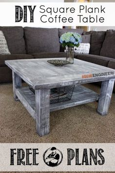 Free and easy DIY plans showing you exactly how to build a square coffee table with a planked top. No woodworking experience required.