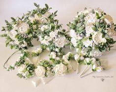 White green wedding set Alternative wedding bouquet Keepsake Succulents Bridal bouquet Boho Rustic wedding Woodland bouquet with Succulents